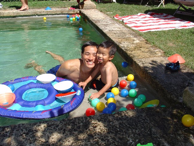 Dad & Matthew in the pool